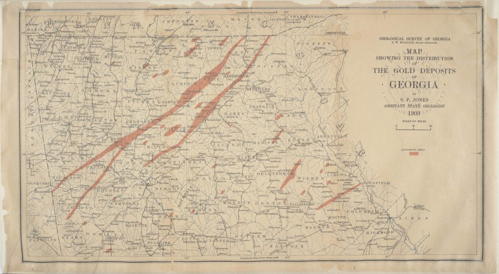 1909 gold deposits in Georgia gold map