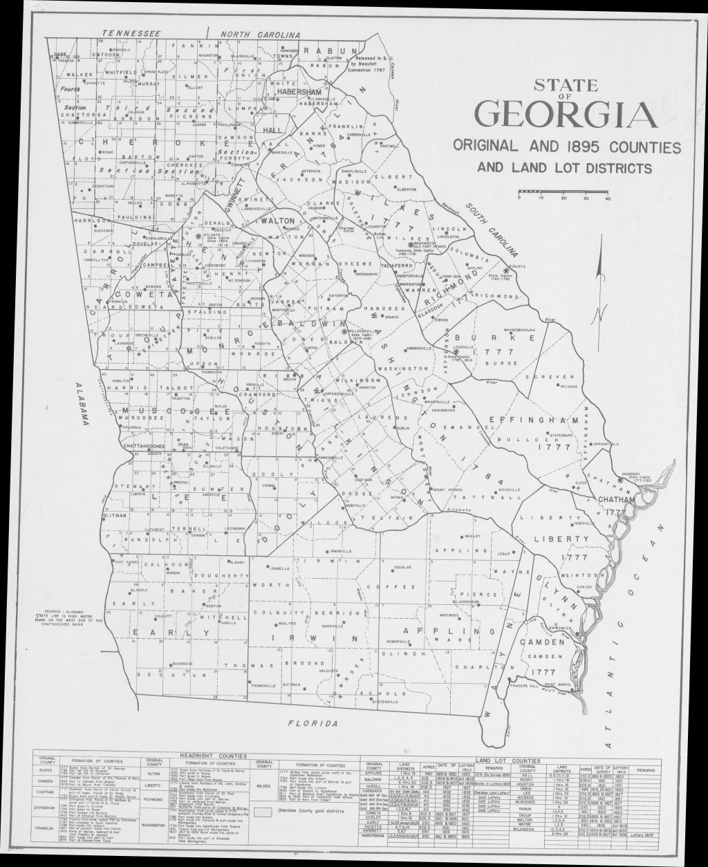 Map Of Georgia 1830.Gold Mining Maps Georgia Gold